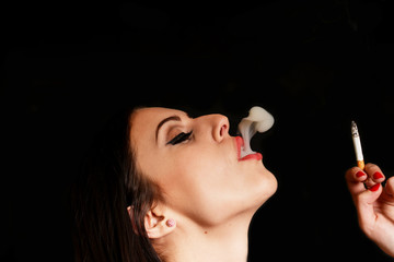 Smoking woman with a cigarette