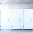 Leinwandbild Motiv Closed public toilet cubicles. 3d rendering