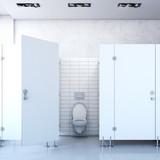 Public toilet cubicle. 3d rendering