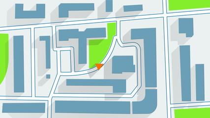 street map GPS navigator long shadows animation 4k (4096x2304)