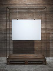 White poster hanging. 3d rendering