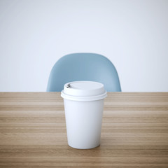 Cup of coffee on wooden table. 3d rendering