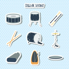 Drum icons. Stickers. Flat design. vector