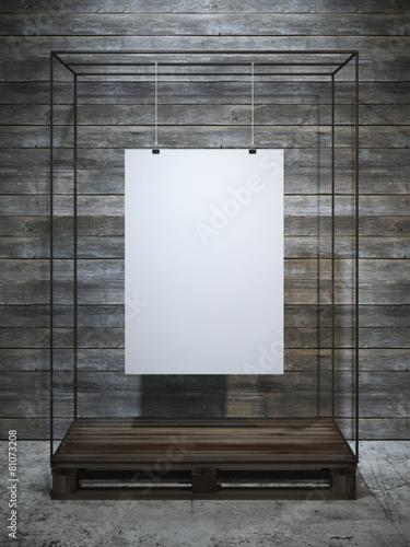 Foto op Plexiglas Wand White poster hanging. 3d rendering