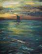 Sailing boat on ocean before storm.Original oil painting .