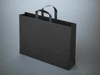 black paper bag with handles