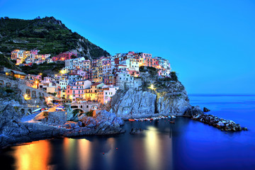 Illuminated Manarola Village at Dusk, Cinque Terre, Italy