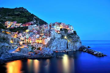 Illuminated Manarola Village at Dusk, Cinque Terre, Italy
