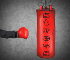 hand is hitting punching bag, business problems concept