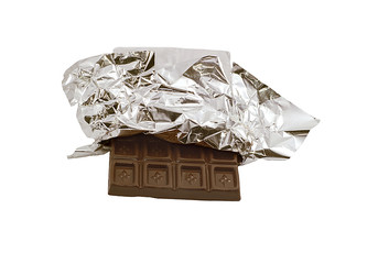 Milk chocolate bar in opened foil wrapping.