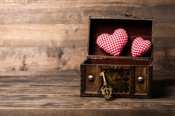 Heart. Opened decorative chest with heart and old metal key