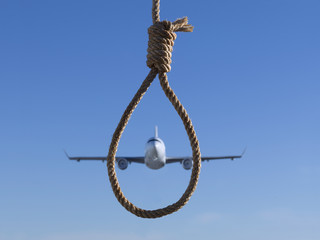 Plane framed within a hangman's noose