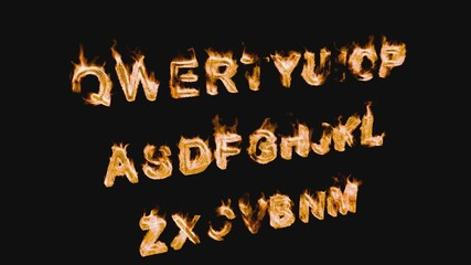 Letters of the Alphabet on Fire 3d