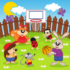 animals play basketball - vector illustration, eps