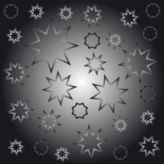 Abstract octagonal stars black and white vector illustration
