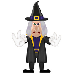 Unfriendly old witch magic halloween cartoon character