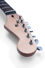an electric guitar fretboard