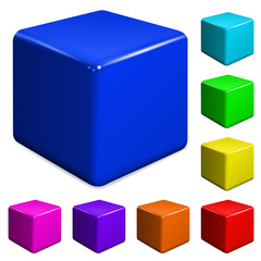 Multicolored plastic cubes