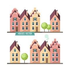 City landscape. Houses set - flat design style.