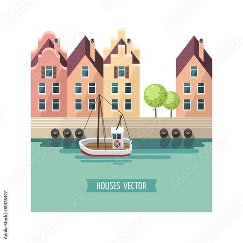 City landscape. Houses set - flat design style.