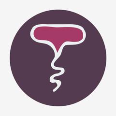 Hand-drawn icon with wine corkscrew. Vector illustration.