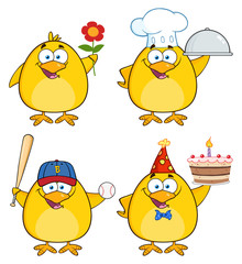 Funny Yellow Chick Character Different Poses 2. Collection Set