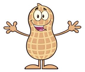 Funny Peanut Cartoon Character Wanting For Hug
