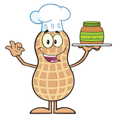 Chef Peanut Character Holding A Jar Of Peanut Butter