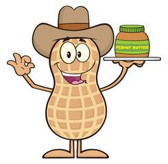 Cowboy Peanut Cartoon Character Holding A Jar Of Peanut Butter