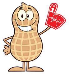 Smiling Peanut Cartoon Character Wearing A Foam Finger
