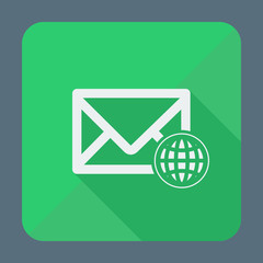 Mail icon, envelope with globe. Flat design vector illustration