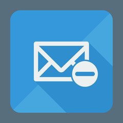 Mail icon, envelope with minus sign. Flat design vector