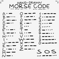 Hand-drawn doodle sketch. International Morse code isolated on