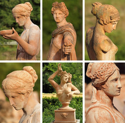 group of images with elegant classic garden sculptures