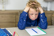 Leinwanddruck Bild - stressful homework
