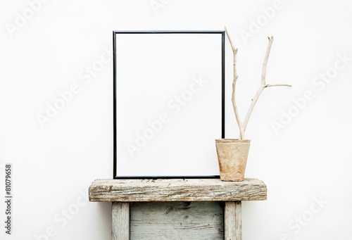 Black frame with place for text. Mock up.  Hipster design - 81079658