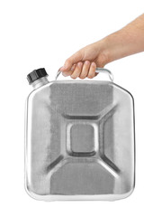 Hand with metal jerrycan