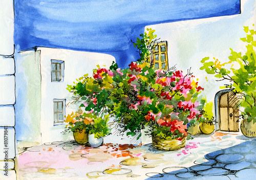 watercolor painting of bouquet of flowers in pots on the window - 81079841