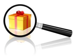 Geschenkpaket und Lupe
