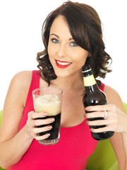 Attractive Young Woman Drinking Beer