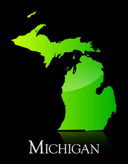 Michigan green shiny map