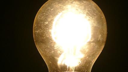 Vintage Light Bulb Filament Spinning Macro