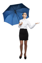 business woman holding a umbrella. Isolated.