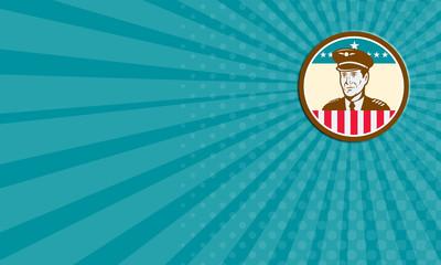 Business card Airline Pilot Aviator USA Flag Circle Retro