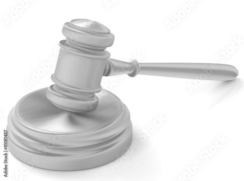steel gavel and soundboard on white background. LAW concept - 81081487