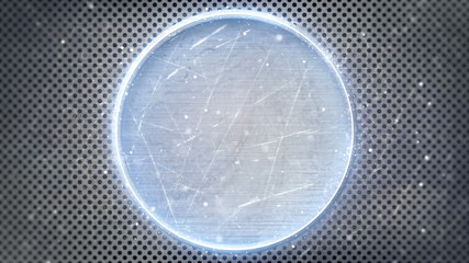 neon glowing circle on metal loop background