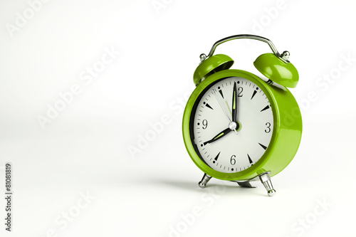 Eight o'clock. Green classic clock on white background. - 81081819