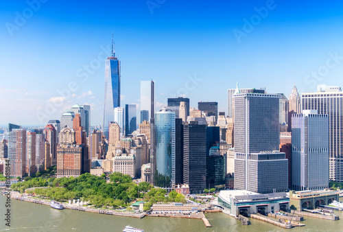 Aerial skyline of Lower Manhattan on a beautiful sunny day Poster