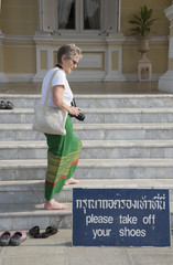 Please remove shoes notice at a palace in Ayutthaya