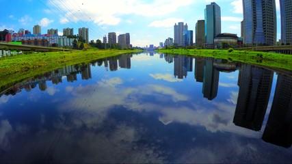 Aerial View: Marginal Pinheiros - River, Sao Paulo, Brazil